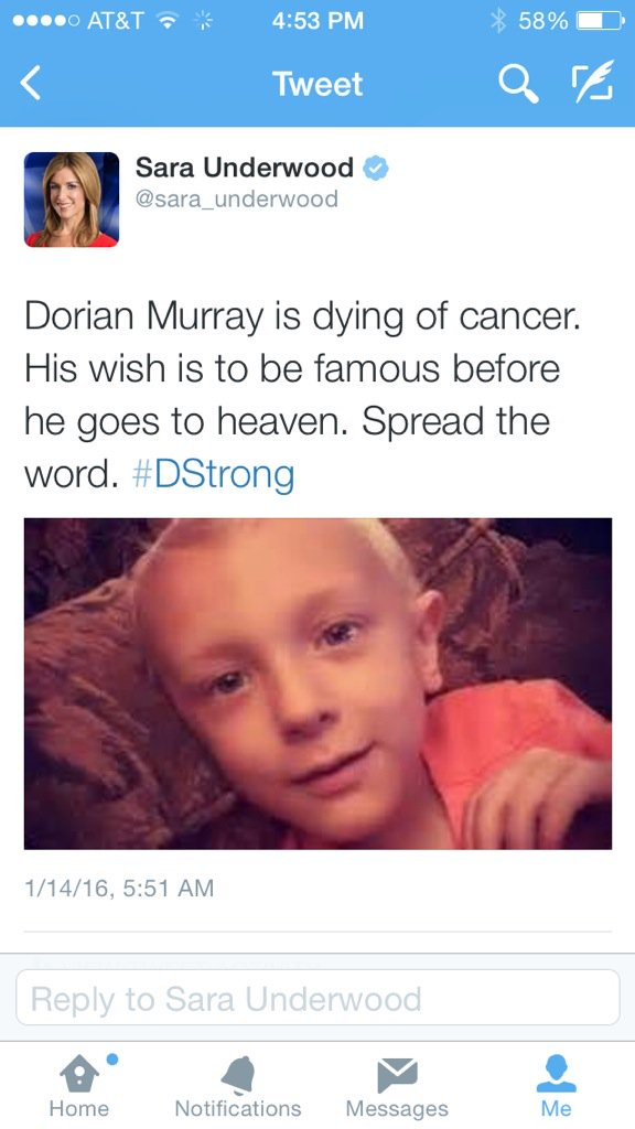 This tweet has now been shared 13,000 times. Dorian, you are famous and adored. #DStrong https://t.co/uFoOt5dWzJ