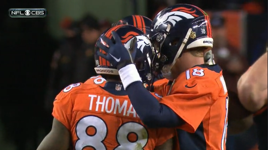 Special moment. After taking a knee, Manning gave ball to Thomas. https://t.co/POujcgLBkX