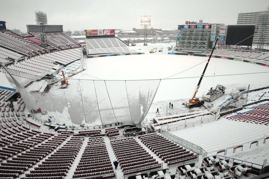コボスタ宮城も雪なう⛄️#RakutenEagles #雪合戦したい pic.twitter.com/18L2cZ7Ekd