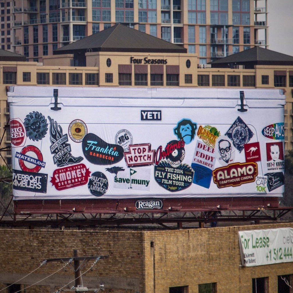 Recklesskelly on twitter cool yeticoolers billboard downtown austin texas nice stickers recklesskelly yeti austin https t co kccra43eo6