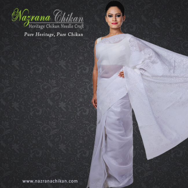 6ec4200ebd #Handcrafted white #cotton #chikankari #saree. Use coupon OFF300  @http://bit.ly/1IQ7QGq WhatsApp on +91-7703079886pic.twitter.com/s5bMW7CCN5
