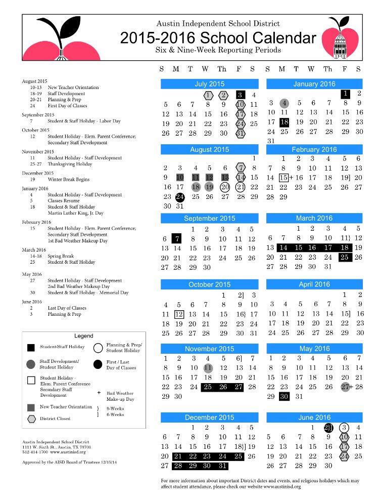Austin Isd Calendar 2017 18 World Of Printable And Chart