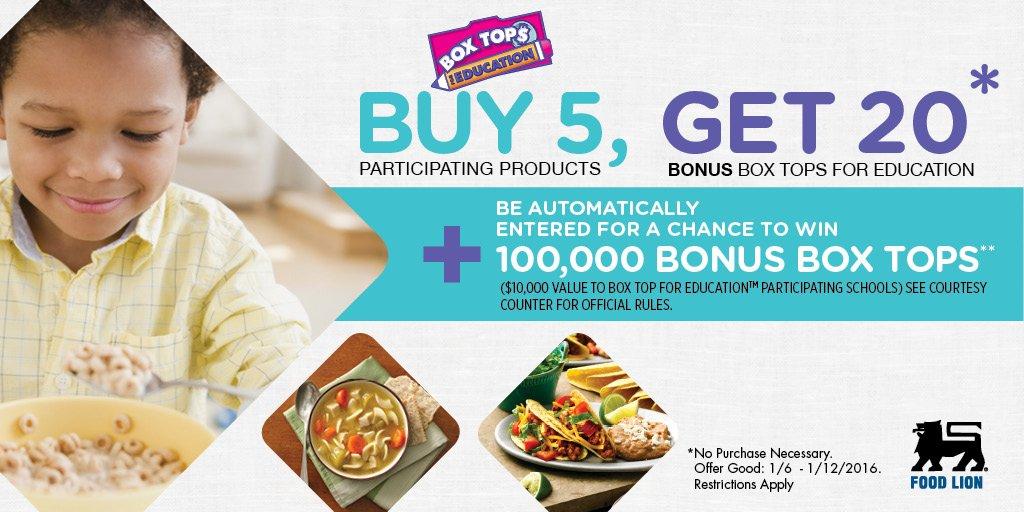 Buy 5 participating @GeneralMills products & receive 20 Bonus Box Tops No Purchase Necessary https://t.co/UVw8Vw4Cij https://t.co/2yXt536RrU