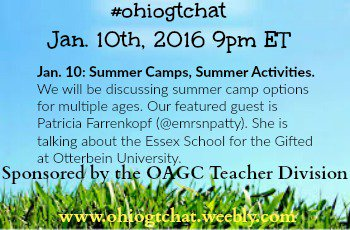 Thumbnail for #ohiogtchat Jan. 10: Summer Camps, Summer Activities.