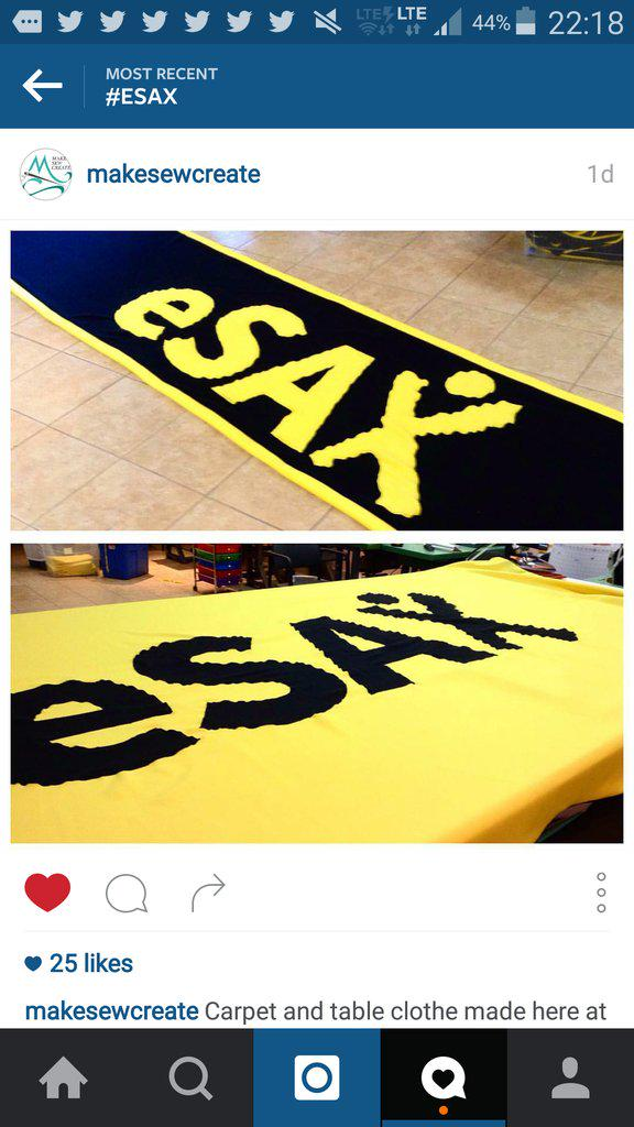 If you dig our #eSAX carpets tonight, show our #sponsor @makesewcreate some #twitterlove! #womaninbiz #superstar https://t.co/KnO7yXBanL