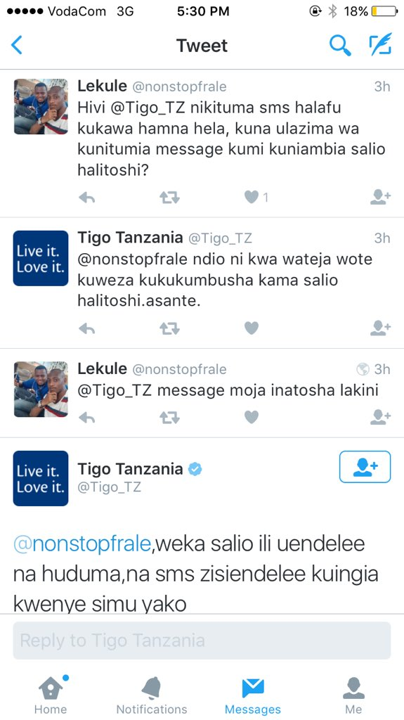 Salim Alkhasas On Twitter Tigo Customer Care Vs Voda Customer Care Custom Love Sms Tz