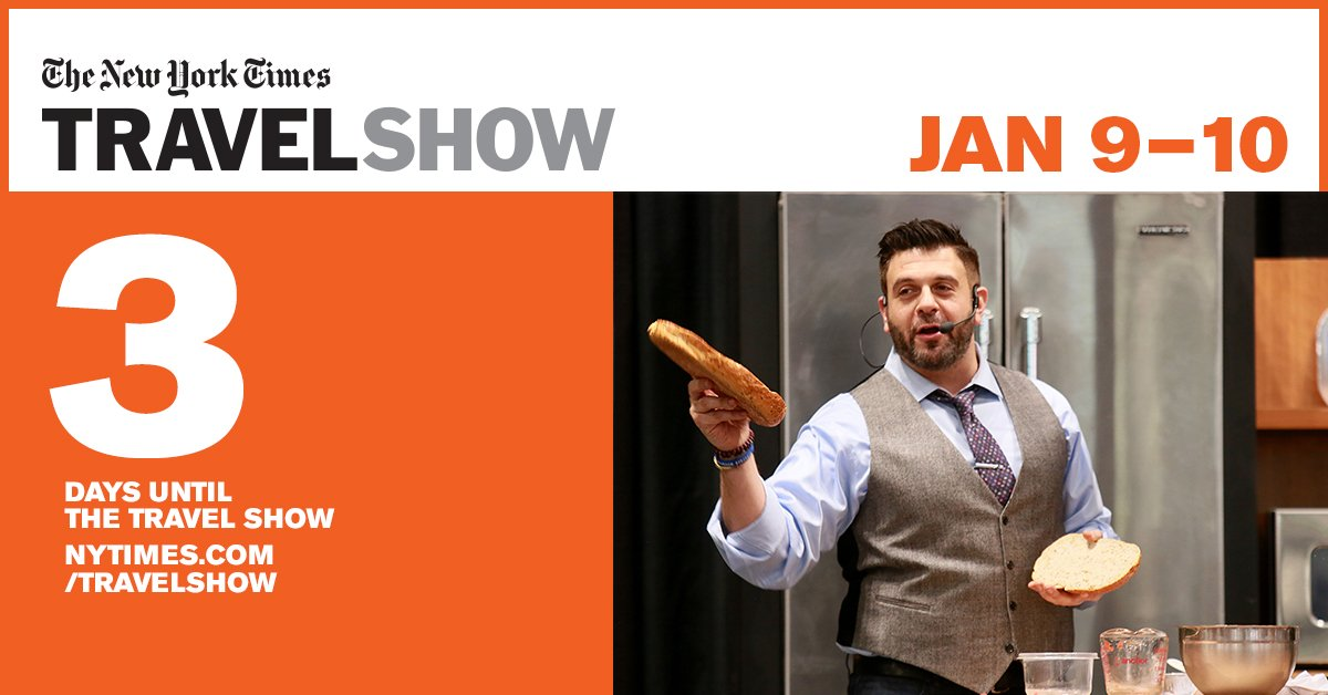 3 Days till NYTimes Travel Show - Get Your Ticket Today! https://t.co/CLifQ7YUKb https://t.co/lVdnBrddiL