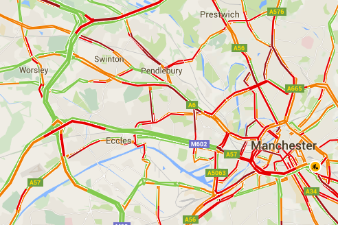 First Manchester on Twitter TRAFFIC Map shows traffic levels