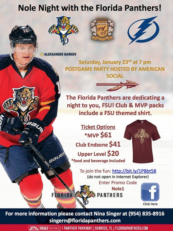 Join @MiamiSeminoles & @BrowardNoles @thebbtcenter as @FlaPanthers play @TBLightning Jan 23 Official Post Game Party https://t.co/XjGaqi6aRA