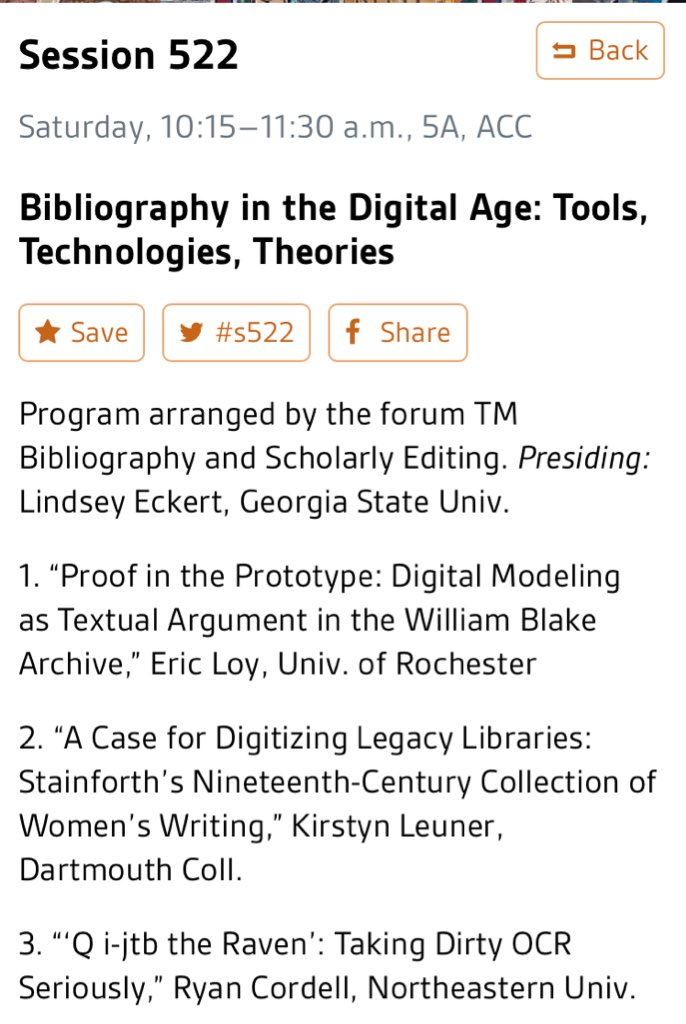 Come check out #s522 Saturday at 1015- Bibliography in the Digital Age #MLA16 #biblionerdery @MLACommons https://t.co/rvaOI1OMEv