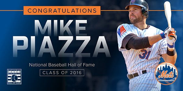 Congratulations Mike Piazza on your election to the Baseball Hall of Fame! #PiazzaHOF #Mets https://t.co/qWegLAL1dx https://t.co/qHfM0Zhywc