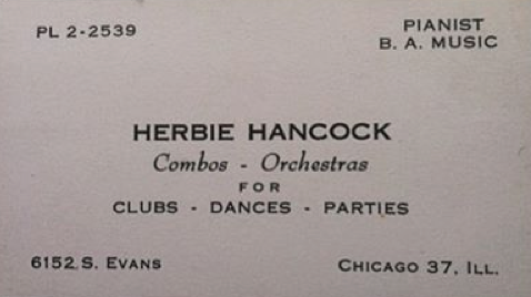 Herbie Hancock On Twitter Herbies Business Card Circa 1960 While