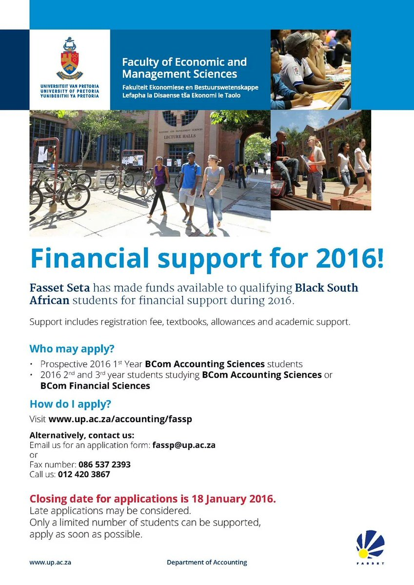 Funding opportunity for 1st ,2nd &  3rd year Accounting Sciences or 2nd & 3rd year financial sciences at UP https://t.co/AcZDMlW3I7