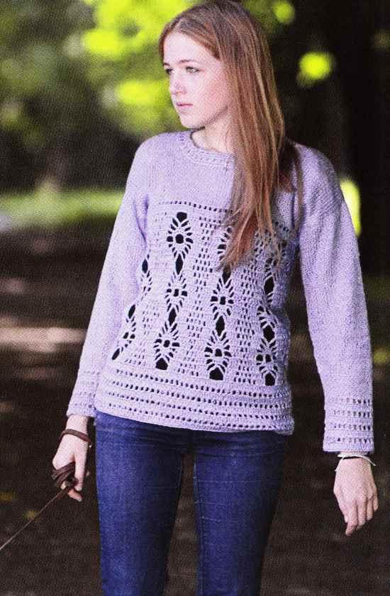 Пуловеры женские крючком схемы