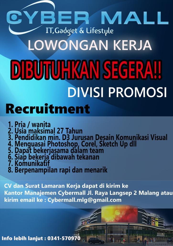 Twitter पर Cyber Mall Malang Info Loker Cybermall Mlg Lowongankerja Lowongankerjamalang Cybermallrecruitment Https T Co Lytenyrzfv