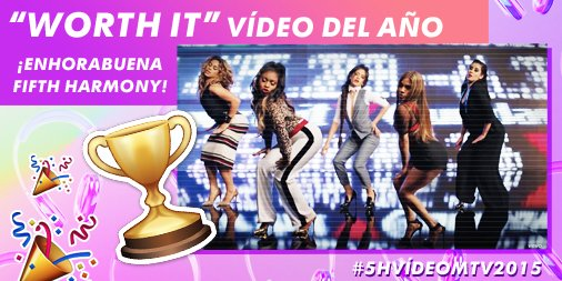 ¡Tenemos GANADOR del #VideoMTV2015! ¡Enhorabuena @FifthHarmony!  ¿Hacemos #5HVídeoMTV2015 TT para celebrarlo? ;) https://t.co/fgf6iyZxO9