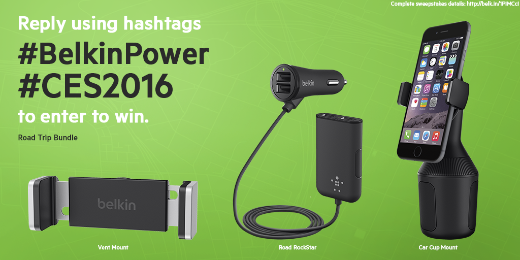 Want to win a Road Trip Bundle? Tweet us with #BelkinPower & #CES2016 for a chance to win! https://t.co/1vbYMJsDyi