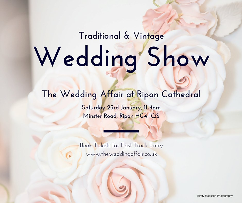 Book #TICKETS for this incredible #Wedding #Show Sat 23 Jan 11-4pm @riponcathedral https://t.co/Y0RFp0hKAl https://t.co/uuGFCNWxiE
