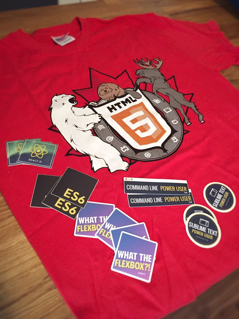 Giving away 4 HTML5 Canada shirts and a bunch of stickers. RT to enter. Good luck!