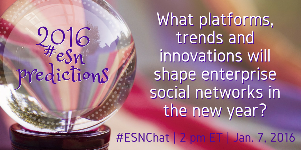 On today's #ESNchat we're discussing 2016 #ESN Predictions https://t.co/GGbNzBfH3h