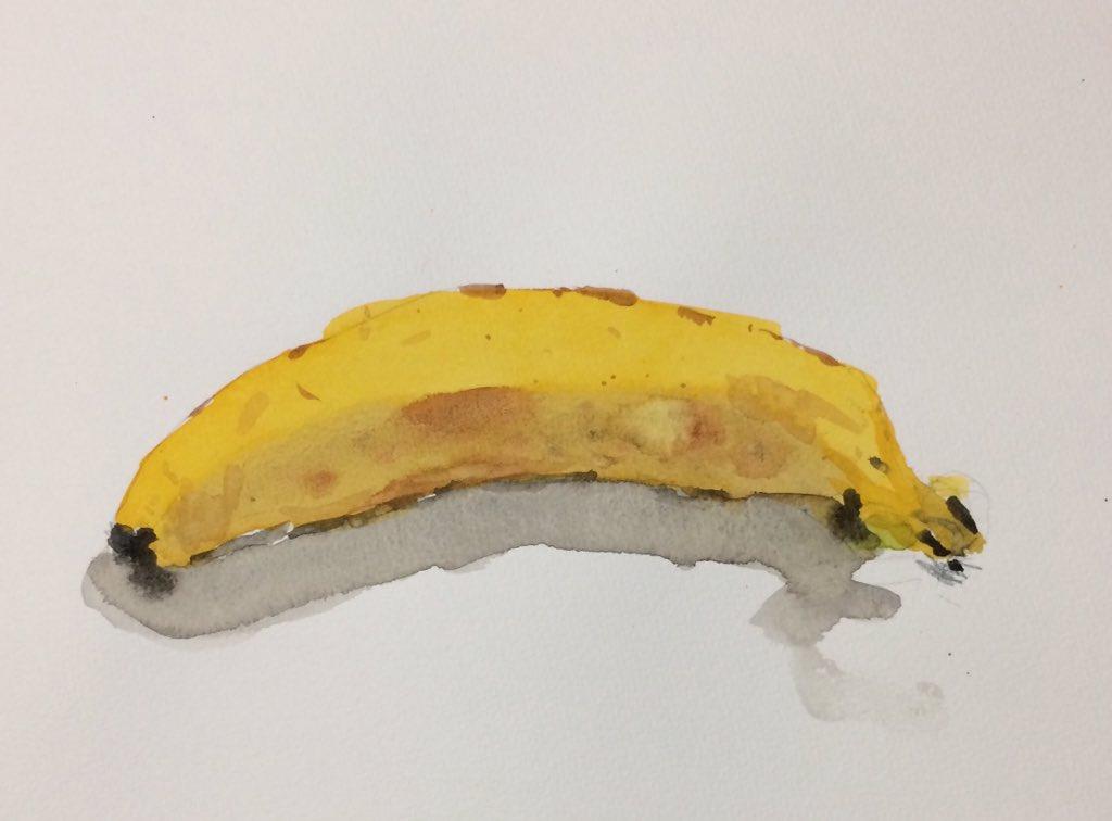 小2の娘に水彩画を教えてみたら、最初から上手でビックリ。バナナ。