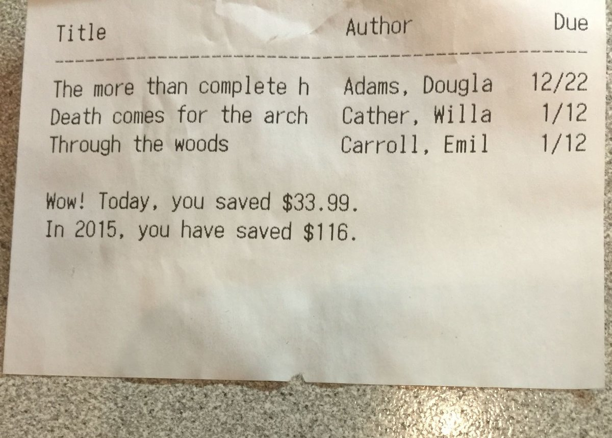 Noted: public libraries showing their patrons how much they are saving by using the library https://t.co/6VD3iDvOal https://t.co/8ATQvS3d5R