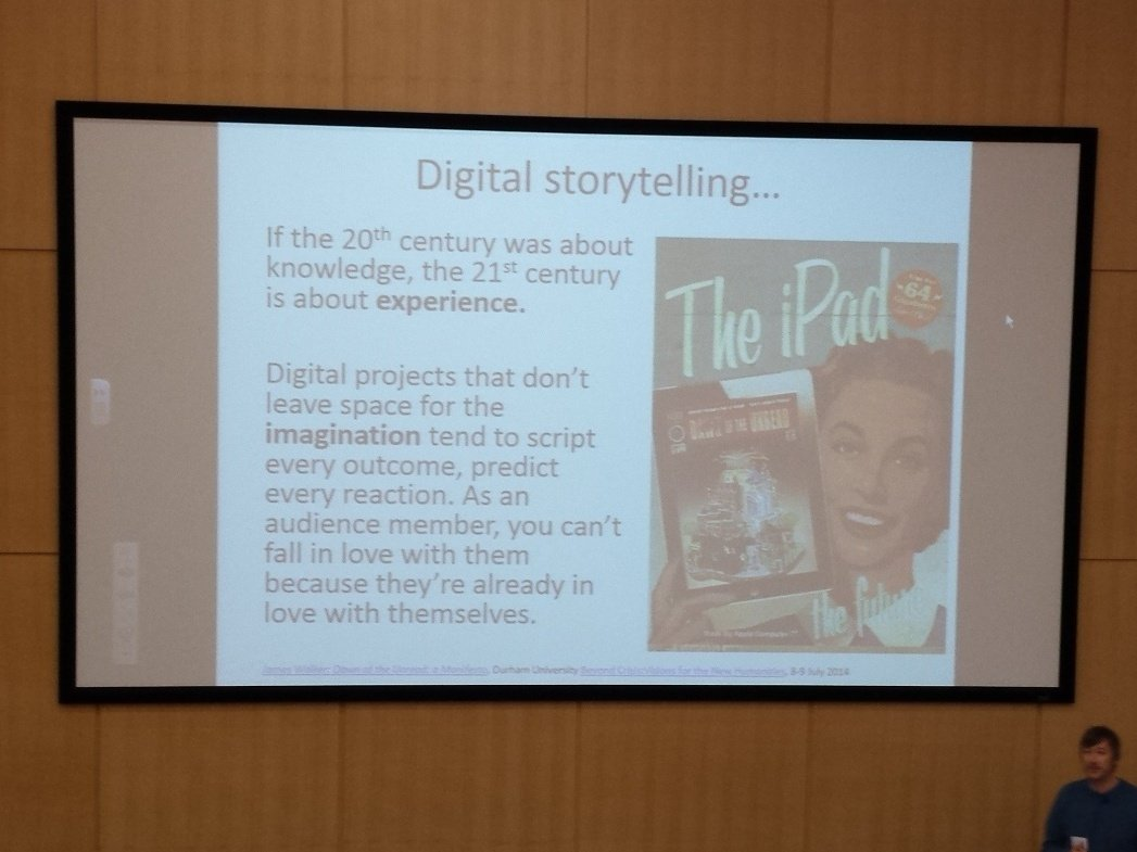 It's vital to draw the audience in to digital storytelling #melsigntu @DawnoftheUnread https://t.co/a35Da56MVo