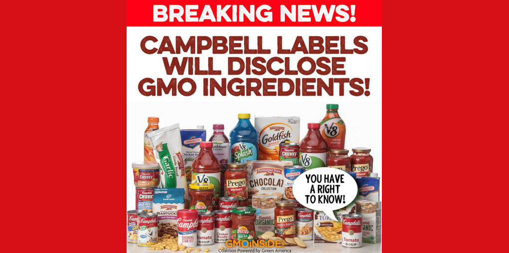 HUGE! BREAKING NEWS: Campbell Labels will disclose #GMO ingredients. Story here: https://t.co/J8YrtAho2A https://t.co/Pm7ZMszUTF