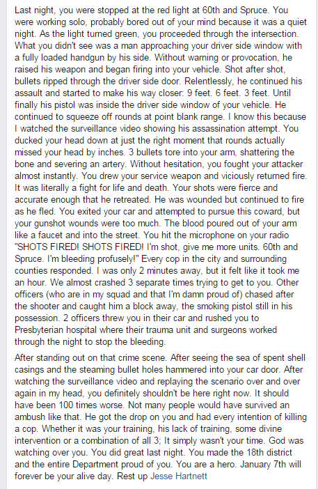 Beautiful and moving FB post f/an officer who responded to the execution-style shooting of Philly cop last night. https://t.co/Z87aNCU5Ul