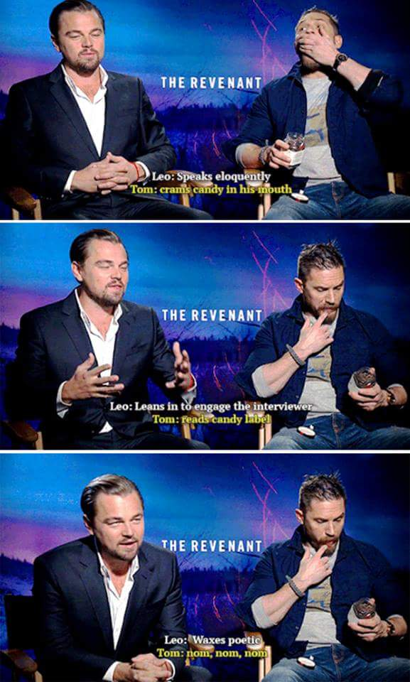 God I love Tom Hardy. Ain't nobody got time for interviews. #priorities #candy https://t.co/b52IynLNYW
