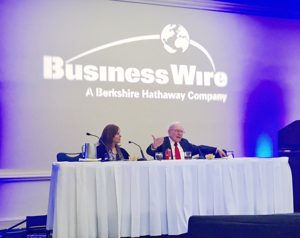 """When you find something good, latch onto it."" @WarrenBuffet at today's @BusinessWire annual meeting! https://t.co/TGJVh6qtFQ"