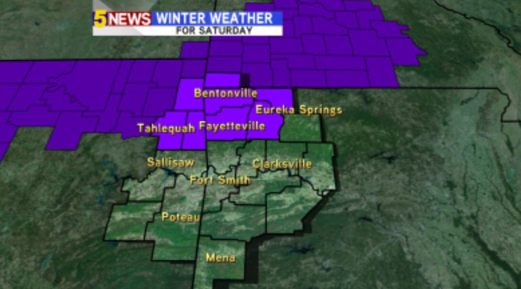 """**Winter Weather Advisory** for NWA Saturday. 1-3"""" of snow possible. more from @5NEWSGarrett https://t.co/ttOt0s2cTX https://t.co/hTHw8ElL7D"""