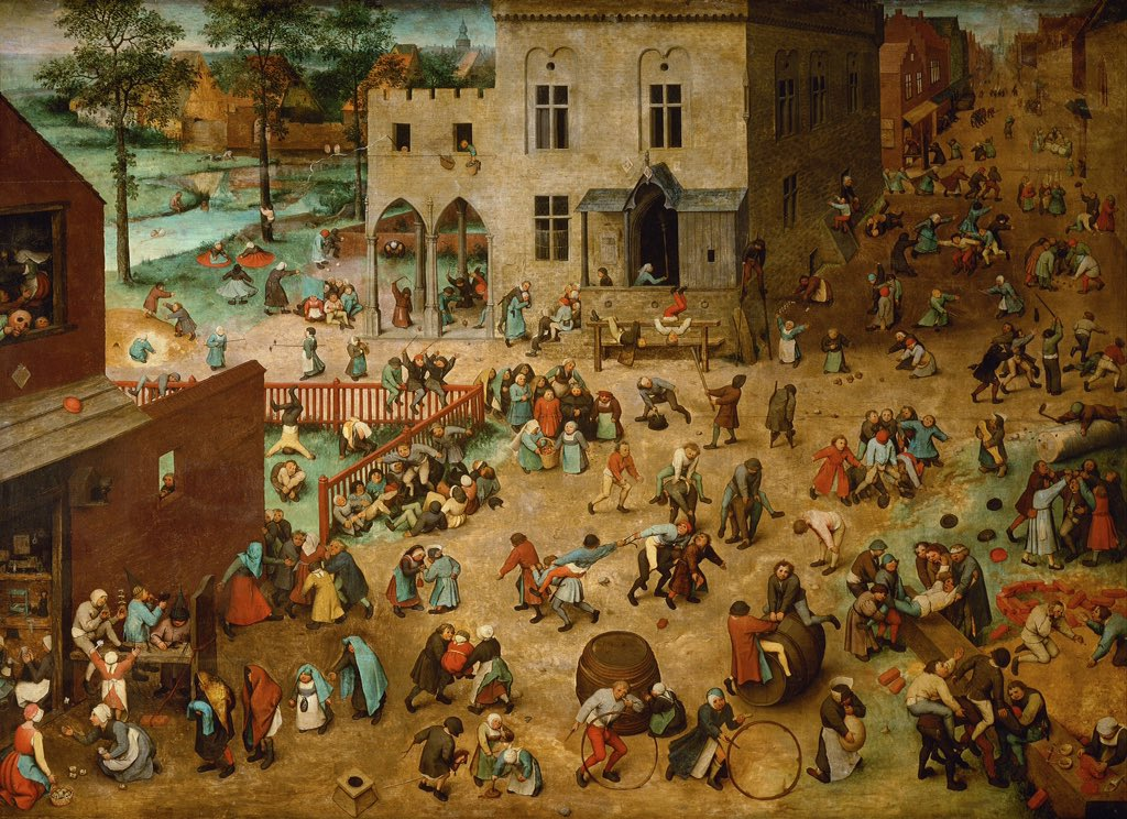 Children's Games  Pieter Bruegel the Elder, 1560 Oil on panel Flemish renaissance  @KHM_Wien #Wienna  #artpic.twitter.com/Hsj1jZf8UF