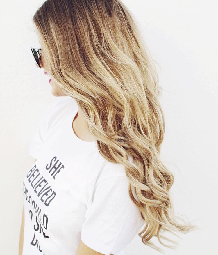She believed she could, so she did ✨ Loving how @daniellemarieyt's Dirty Blonde #luxyhair blends in with her hair