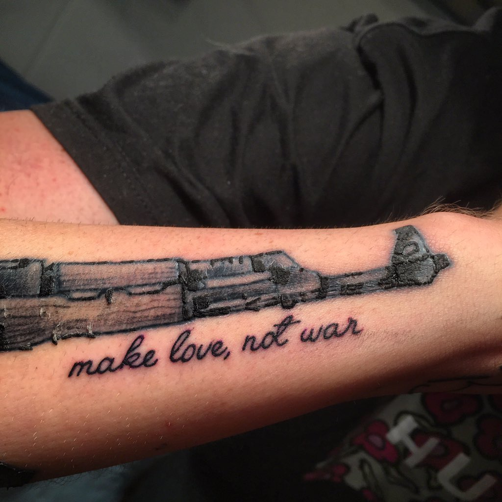 FaZe Banks On Twitter Tattoo 4 Traditional Rose Addition To My AK Coupled With Text Make Love Not War Under The Barrel Of Gun