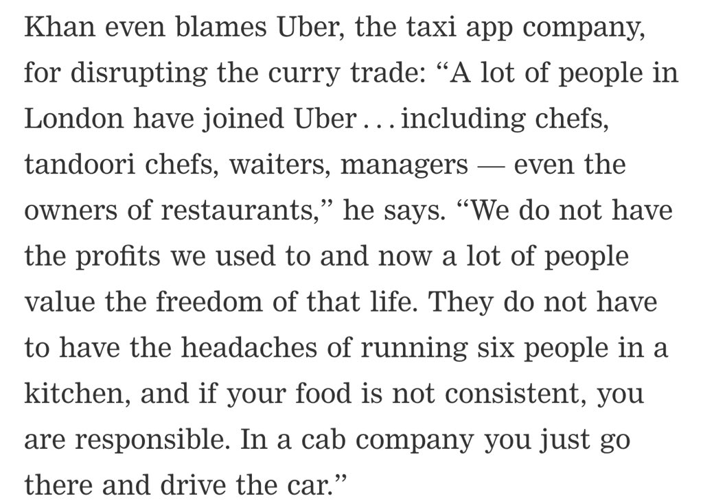 Didn't see this coming: curry houses blaming Uber for their woes! Everyone wants to work for Uber instead. https://t.co/e8nqYdOKpV