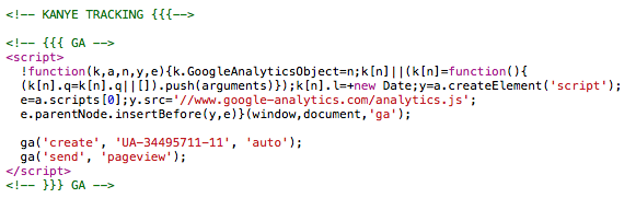 """The guy who built Kayne West's site swapped out the variables in Google Analytics to spell """"kanye"""". https://t.co/Ld9st8Rnu4"""