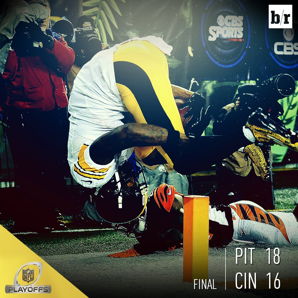 Steelers advance to the divisional round with 18-16 win over Bengals. What a game!… ~via https://t.co/bk60yIVatE https://t.co/d8ysF3fany