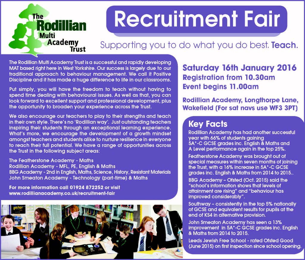 The Rodillian Academy recruitment fair- 16th January 2016. #recruiting #education #teaching #English #maths