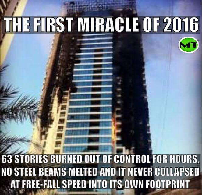 First miracle of 2016, Dubai Skyscraper burning like a torch - December 31/ January 1. No Collapse... https://t.co/QxueQgbk2Q