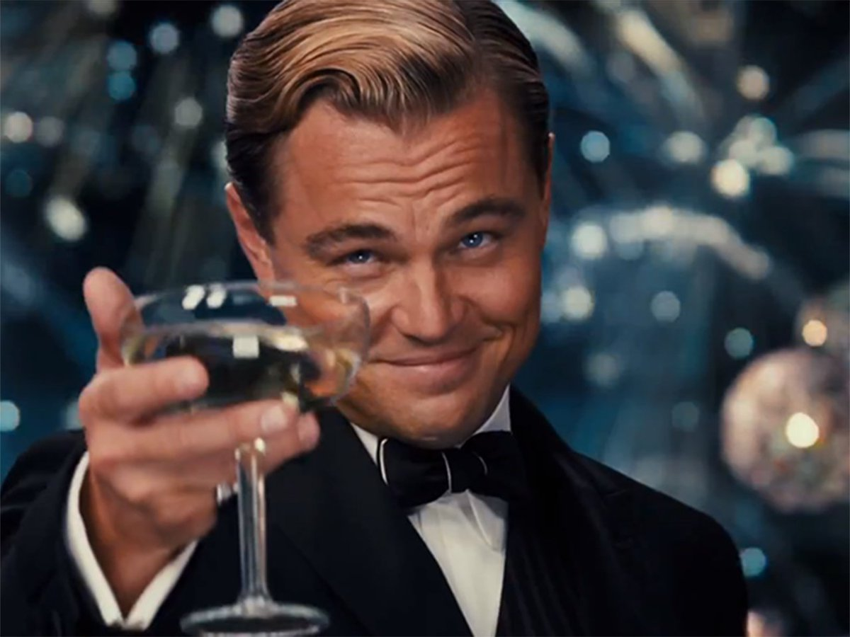 Image result for leonardo dicaprio giving toast
