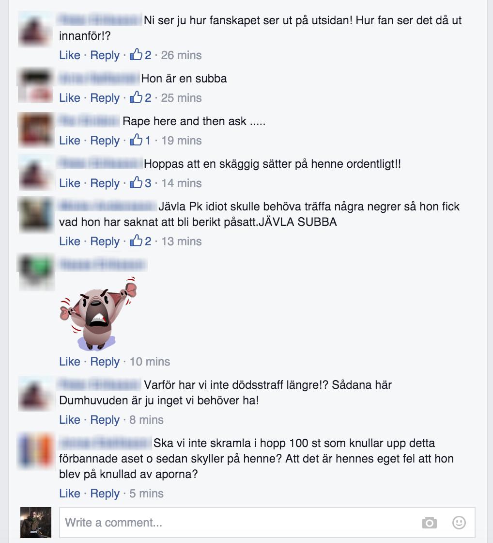 Sajt anklagade en journalist för mörkläggning av invandrares sexbrott. Nu skriver svenska män såhär om henne på FB: https://t.co/Zfq5EzJUH1