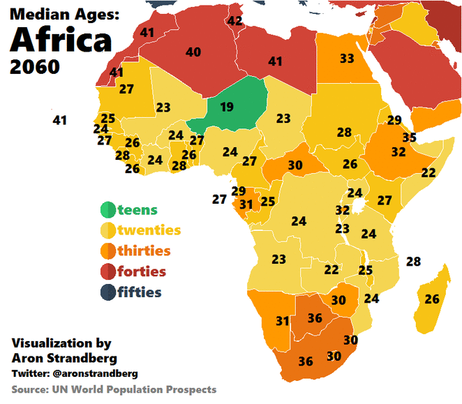 Map Of Africa 1960.Vivid Maps On Twitter Animated Map Median Age In The Africa 1960