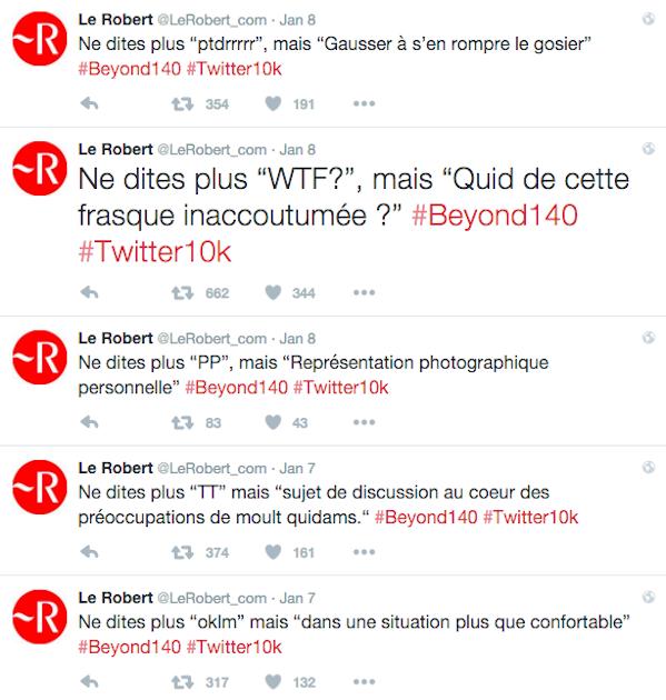 Quand @LeRobert_com réagit avec humour à la fin de la limite des 140 caractères sur Twitter #beyond140 #Twitter10k https://t.co/cdXmWKyYO1