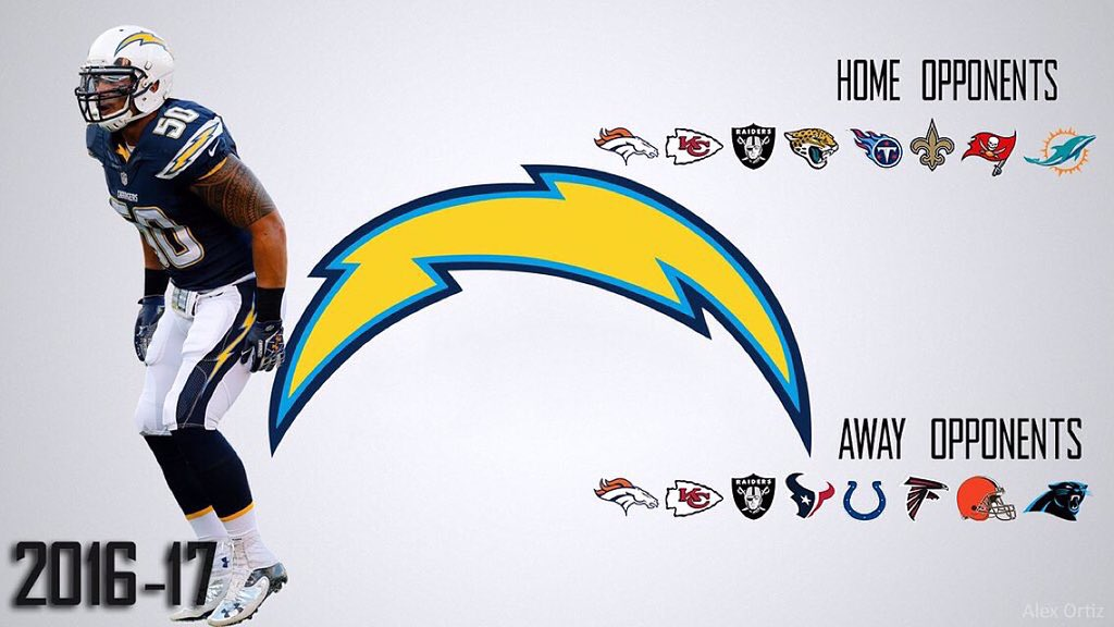 on twitter the san diego chargers 2016 17 schedule looks