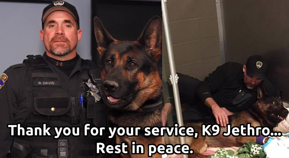 Our thoughts are with the Canton Police Department and K9 Jethro's handler