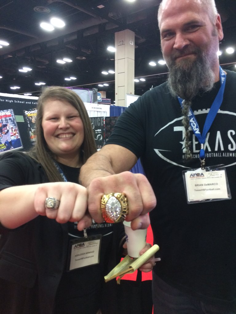 txhs football alumni on brian demarco and ashleigh txhs football alumni on brian demarco and ashleigh arnaud showing off their rings txhsfa afca2016 t co usiv9fhryl