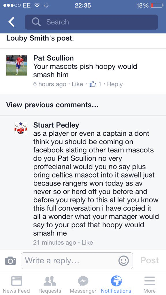 Cowdenbeath captain sacked over comments on who would win in a fight between Hoopy & Broxi Bear @pat_scullion28