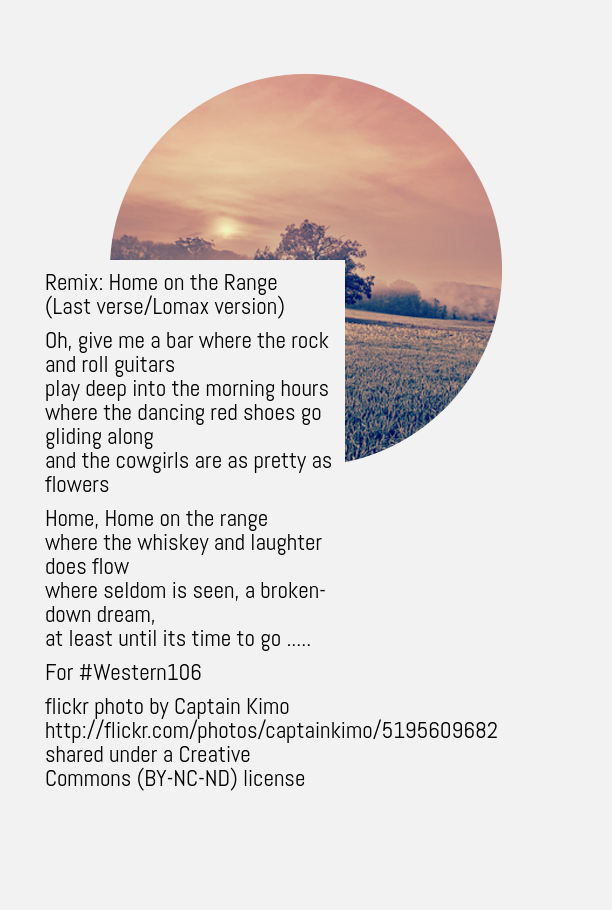 @ds106dc #tdc1471 #dailycreate #western106 Remixing Home on the Range https://t.co/VXq1Y5TeEd