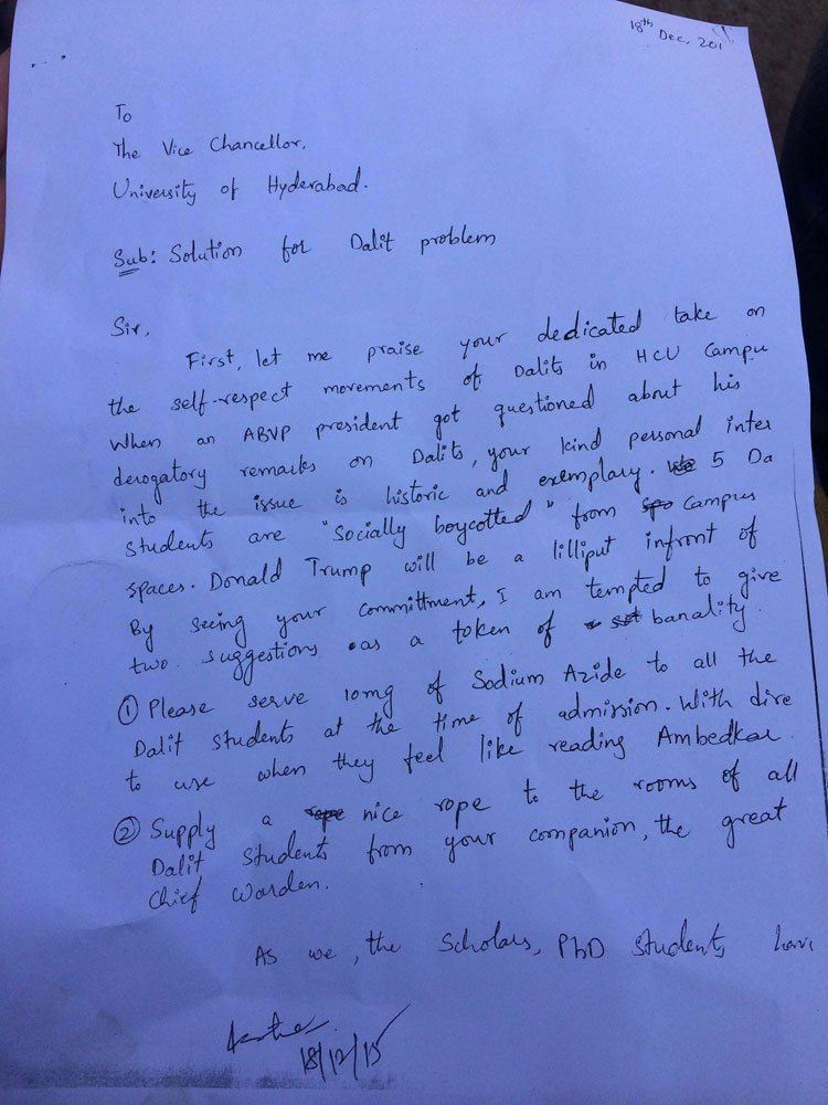 More than Rohith Vemula's Suicide note, his letter to VC asking to Give Poison to Dalits explains why he chose Death https://t.co/ucClrKA3OJ